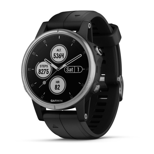 Garmin Fenix 5S Plus Silver with black band 010-01987-21