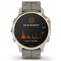 Garmin Fenix 6S Pro Solar Light Gold with Shale Suede Band 010-02409-26